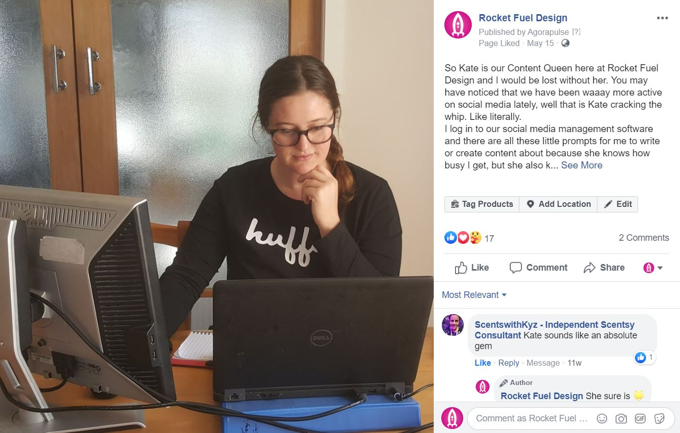 Post about RFD Kate and how Lainey would be lost with out her. picture of Kate sitting at her computer