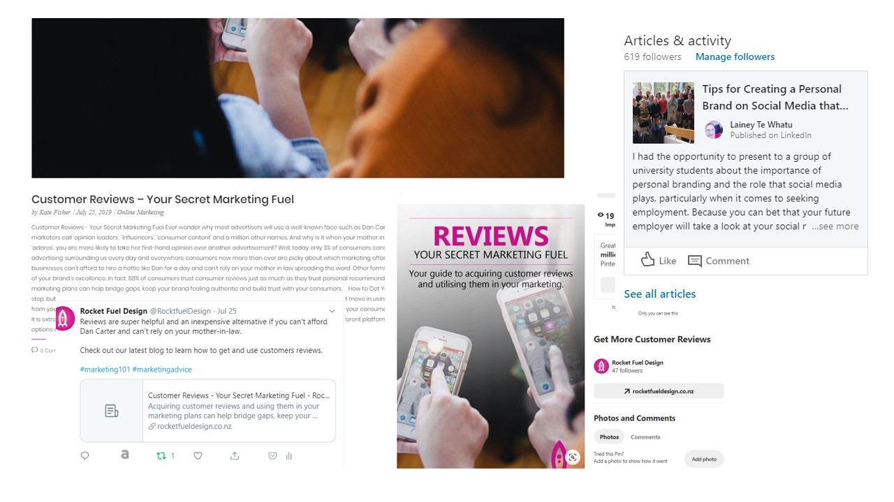 Collage of the different social media posts we created for a blog - Reviews Your Secret Marketing Fuel