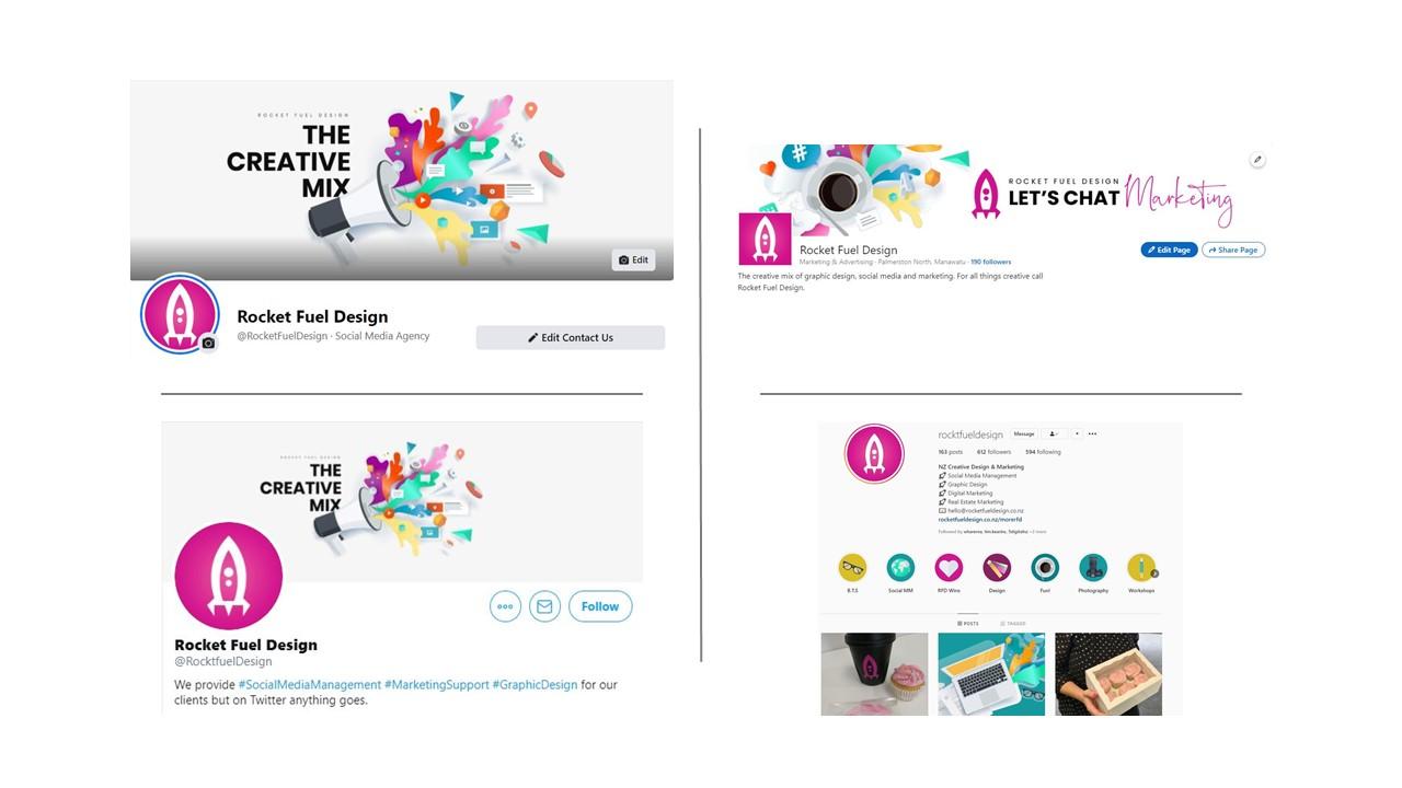 Collage of Rocket Fuel Design's social media planform profile pages
