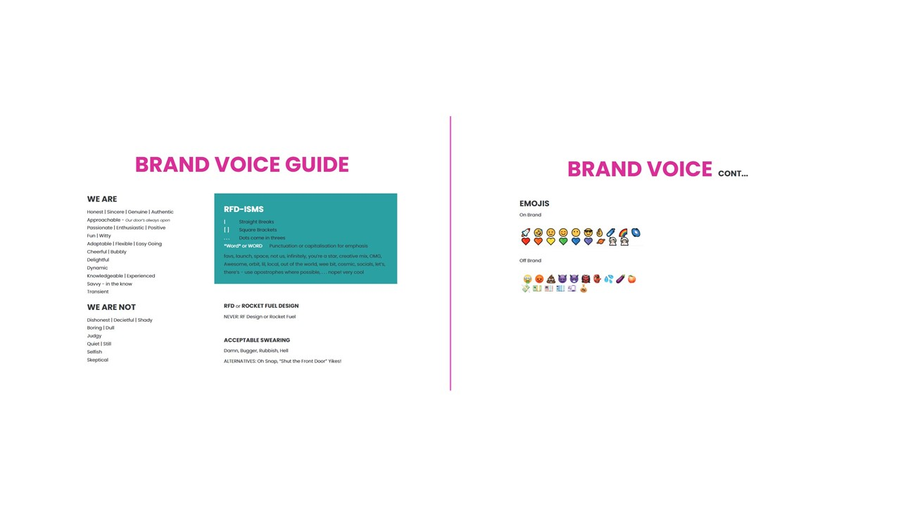 RFD Brand Voice Guide showing off what words and emojis are okay and not okay to use. E.g. Rocket ship emoji is okay, but eggplant isn't