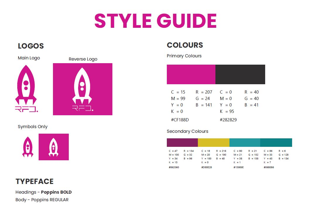 RFD Style guide with logo options, symbol options, allowed fonts and colours